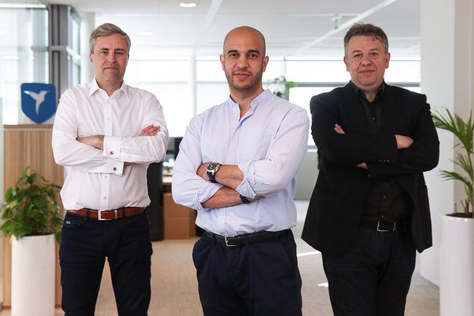 Van links naar rechts: Adam Low (CTO), Adnan Erriade (CRO) en Robert Fleming (CMO)