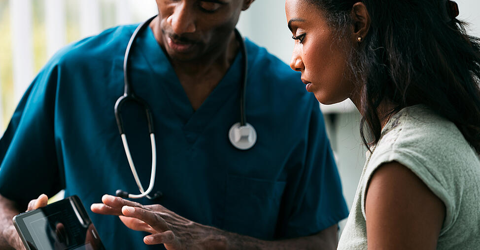 Healthcare workers communicating securely